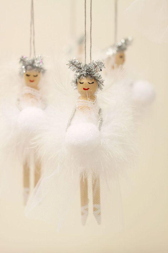 Wooden Fairy Peg Doll white