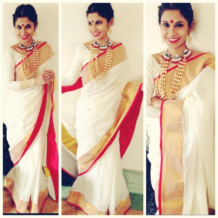 Pink-White-Gold Sari by Ayush Kejriwal