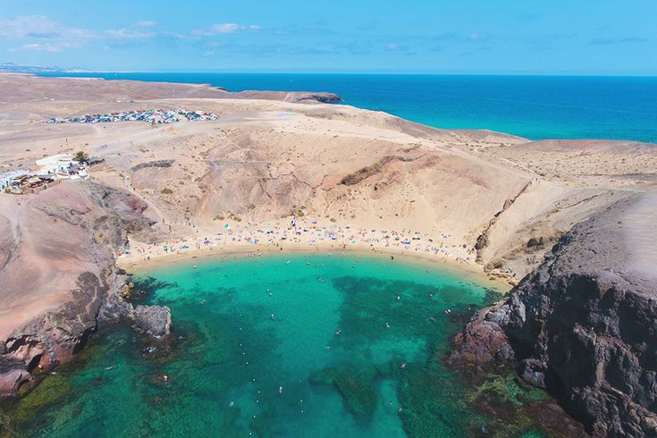 Traveling in Lanzarote - Playa Papagayp beach - Drone