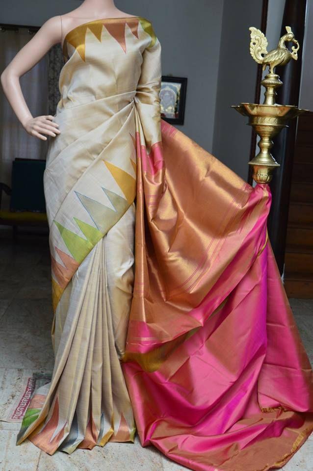 Pure kanchipuram silk saree with multicolour temple zari border with dual tone pink rich pallu Code: A0817KA021711 Cost:17500 inr