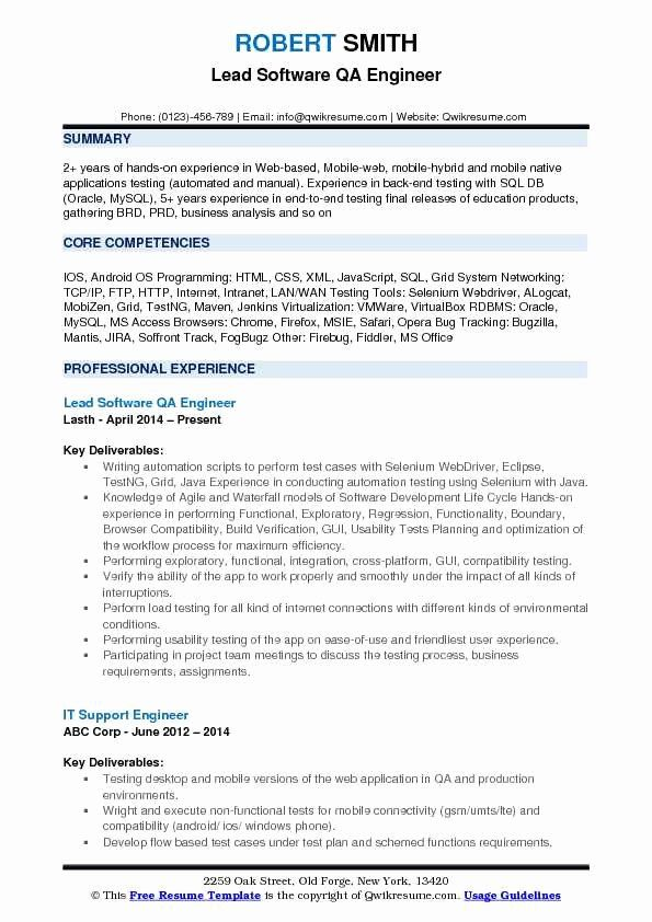 Software Testing Resume 5 Years Experience Awesome Software Qa Engineer Resume Samples In 2020 Resume Examples Business Analyst Resume Job Resume Samples