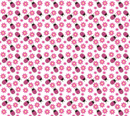 Nice Ladybug and Pink Daisy fabric by gorrosquirofano on Spoonflower - custom fabric