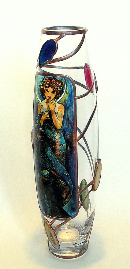 """16"""" x 5"""" (400 mm x 120 mm) Massive, glass, bright, hand-painted decorative vase, product of Czech glass factories. Precise copy of Mucha's artwork."""