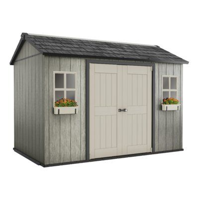 Keter Oakland 11 ft. W x 7 ft. 6 in. D Plastic Storage Shed