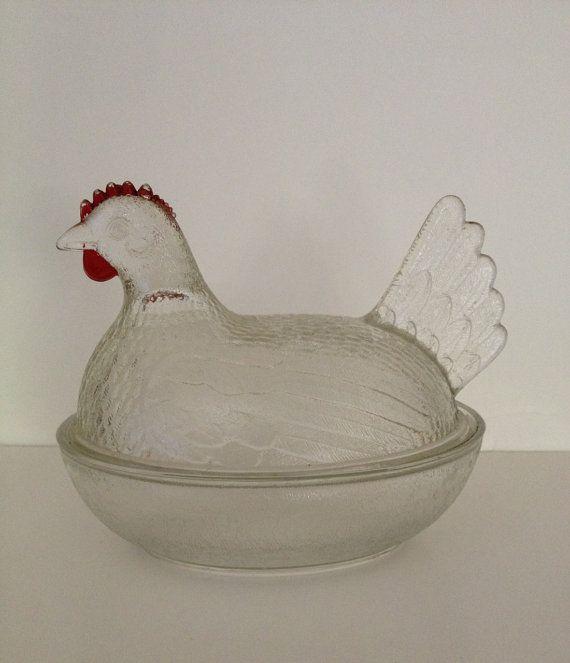 Vintage Hen Glass Dish
