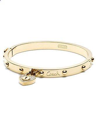 COACH PAVE LOCK HEART HINGED BANGLE - Coach Jewelry - Handbags Accessories - Macys