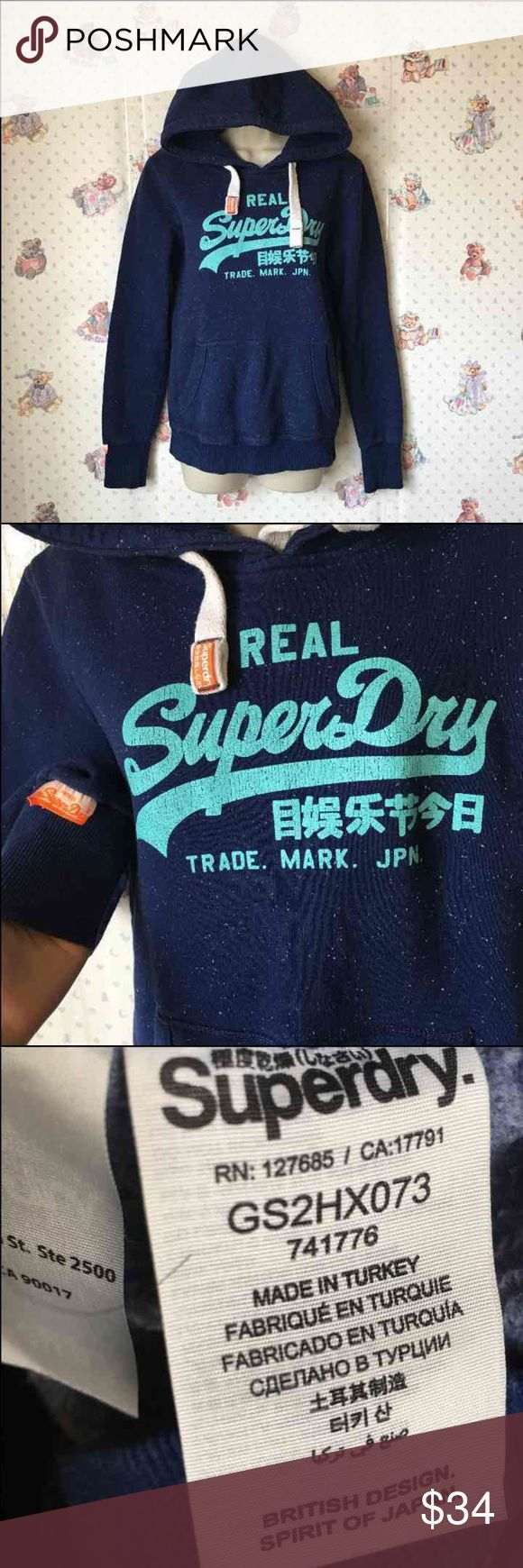 SuperDry vintage pullover SuperDry vintage pullover.  Size medium. Runs smaller. Recommend small. (Women) 83% cotton 17% polyester  Vintage pullover from SuperDry.  The words are made that way for a vintage look and this will come as shown. The white dots were there since I purchased them. Not flaws. Superdry Tops Sweatshirts & Hoodies