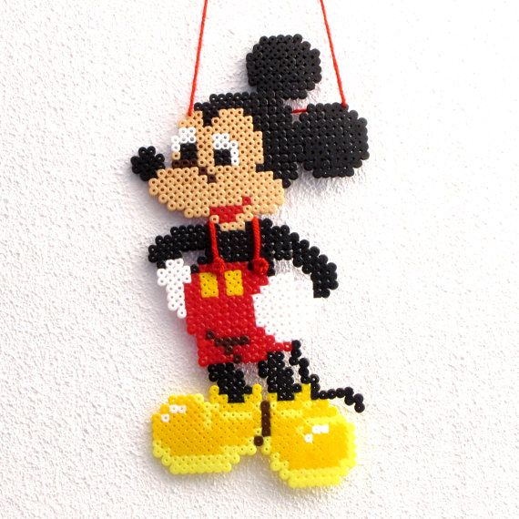 Mickey Mouse wall hanging made with hama beads by VlinderShop