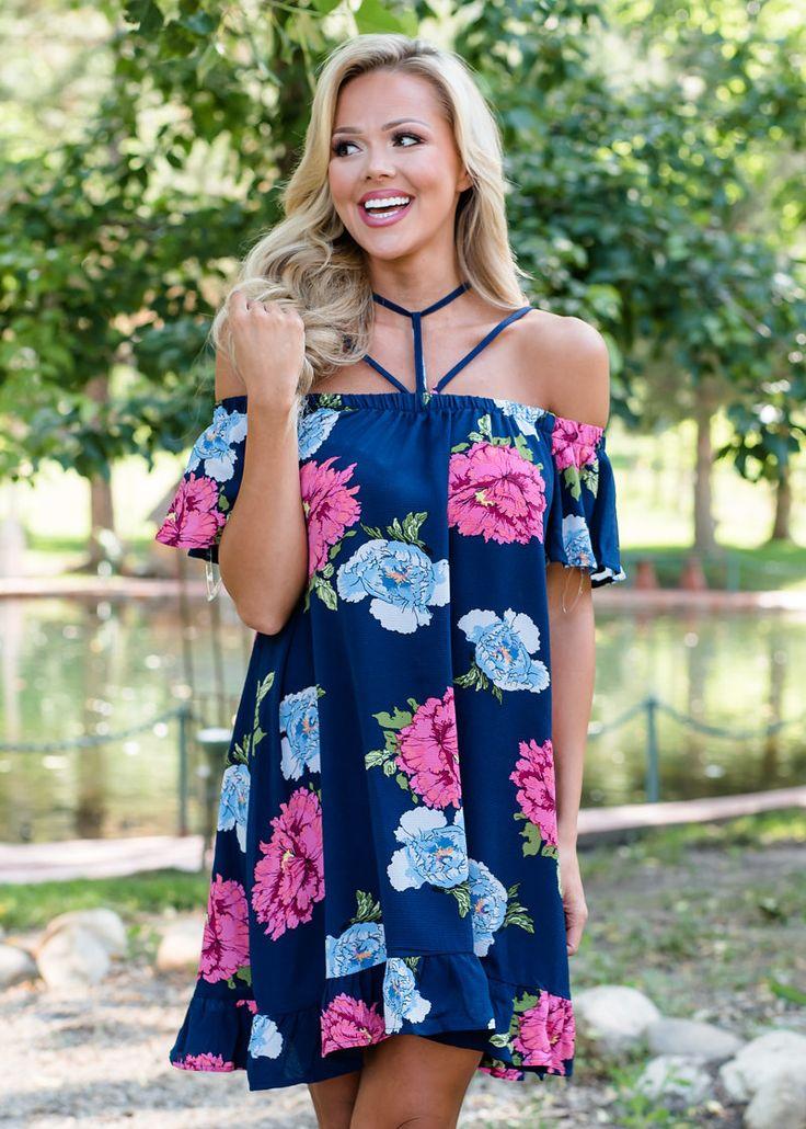Open Shoulder dress, Floral Dress, Navy Dress, Online shopping, Shopmvb, Boutique, Modern Vintage Boutique, Fashion, OOTD, WIWT, style