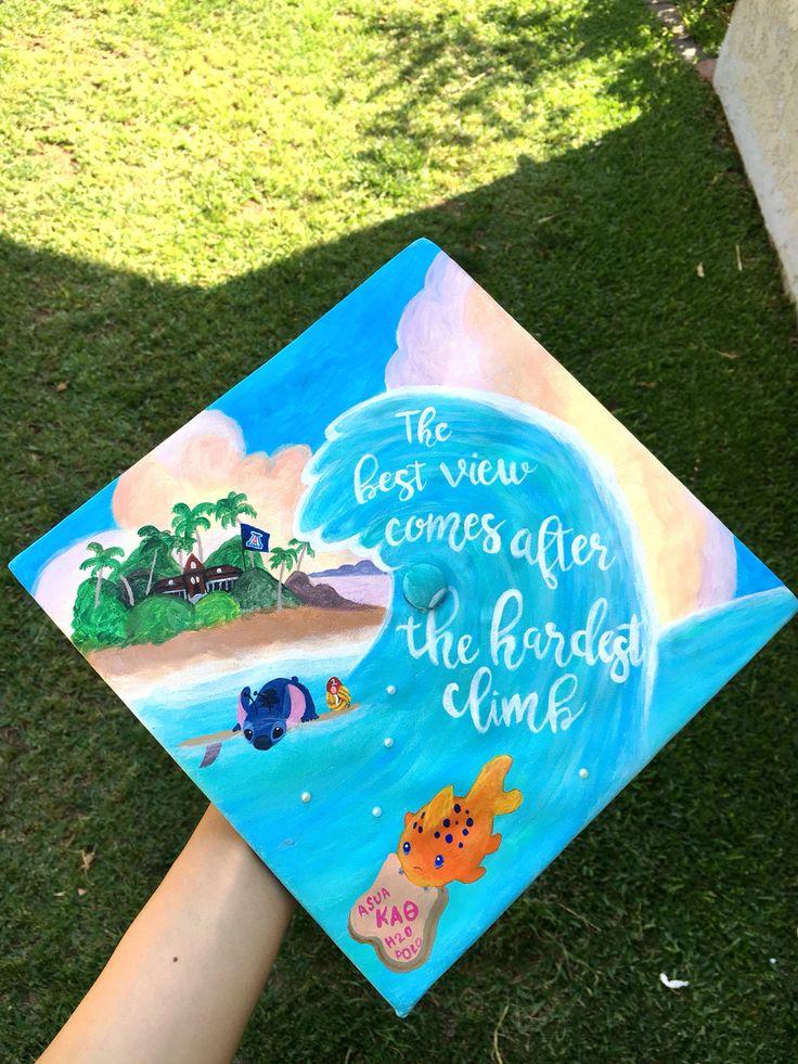 Grad Cap Graduation Cap for University of Arizona Class of 2016. Kappa Alpha Theta, Lilo & Stitch, Ocean, Beach, Hawaii