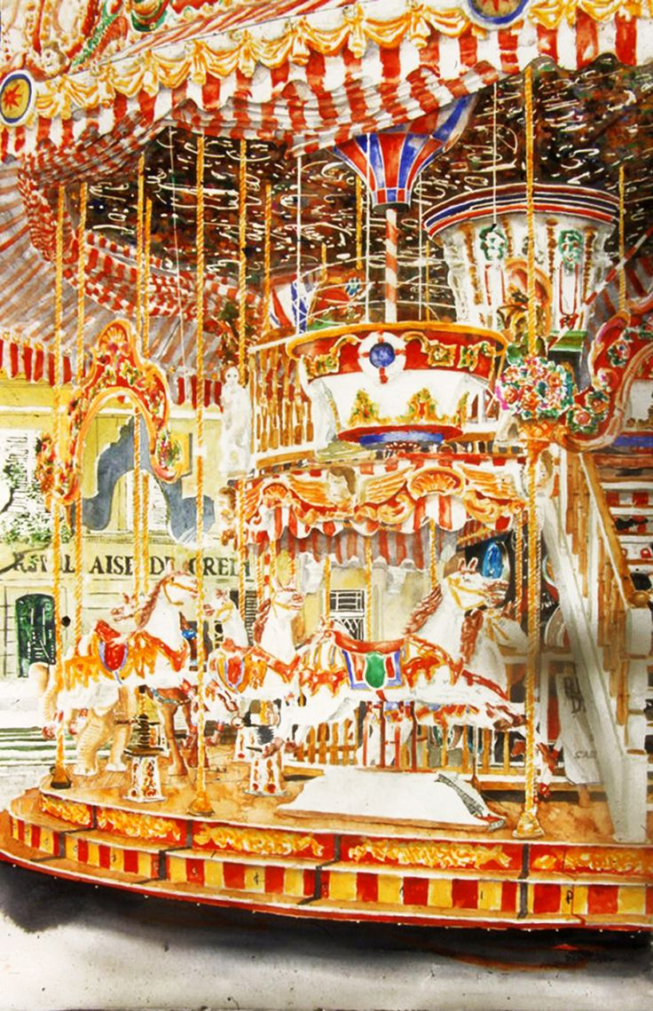 "horses 2 carousel arles 40"" x 26""  micheal zarowsky / watercolour on arches paper / (private collection)"