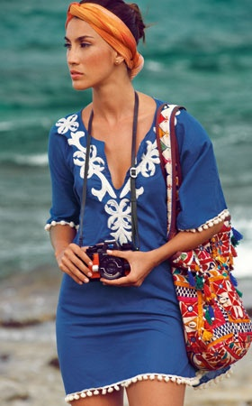Riviera chic with a tied headscarf