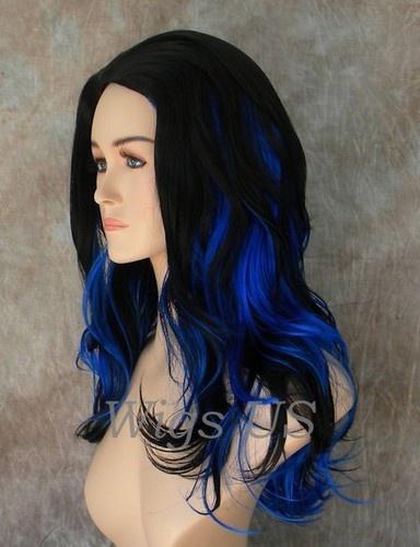 Long Wig Dark Blue Black Full Skin Top Longer Wigs | eBay i like this hair color…