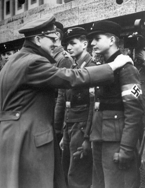 Last time Hitler was seen alive outside the Berlin bunker, he was handing out iron crosses to Hitlerjugend boys for the defence of Berlin from the Russian Army.