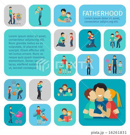 Fatherhood Flat Icons Set