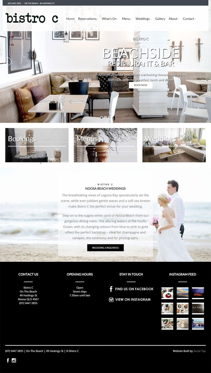 Website design for Bistro C Restaurant in Noosa QLD, Australia. Websites for Hospitality, Tourism, Food & Wine designed & built by SocialTap.com.au