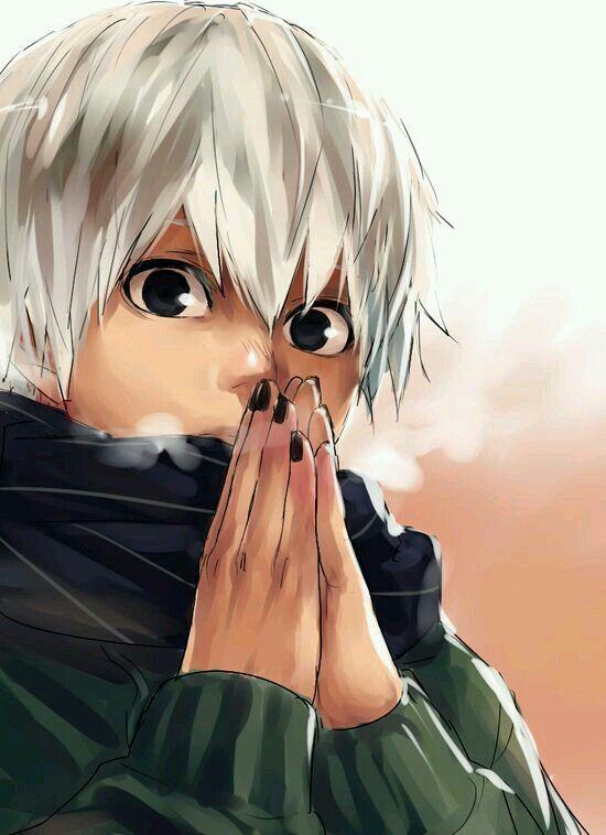 Kaneki Ken | White hair | Anime | Boy | Tokyo Ghoul | Blood | Cute | Dark