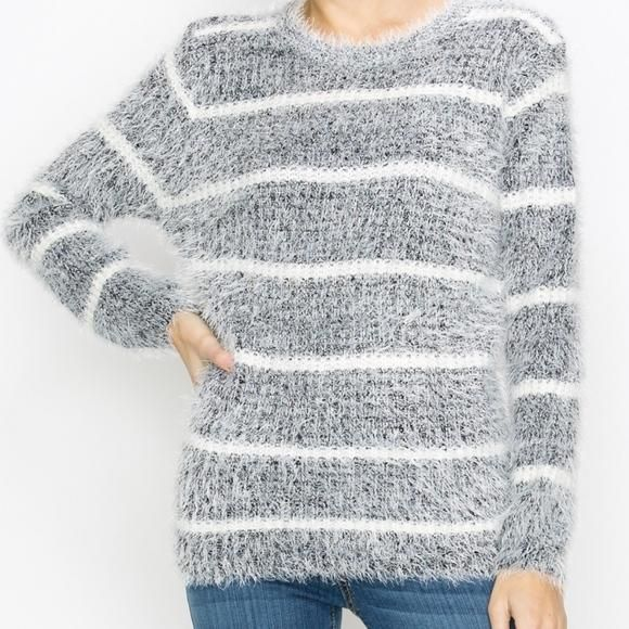 Black White Fuzzy Lady Finger Long Sleeve Sweater