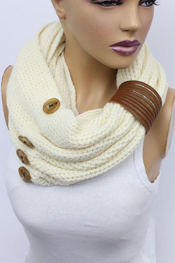 Ivory Scarf Knit Infinity Scarf Womens Knit Winter by OrganicScarf