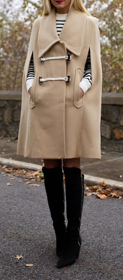 Camel poncho coat