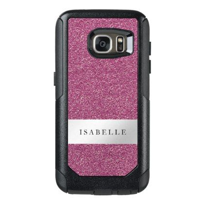 Pink Glitter Silver Metallic Stripe Custom OtterBox Samsung Galaxy S7 Case - glam gifts unique diy special glamour