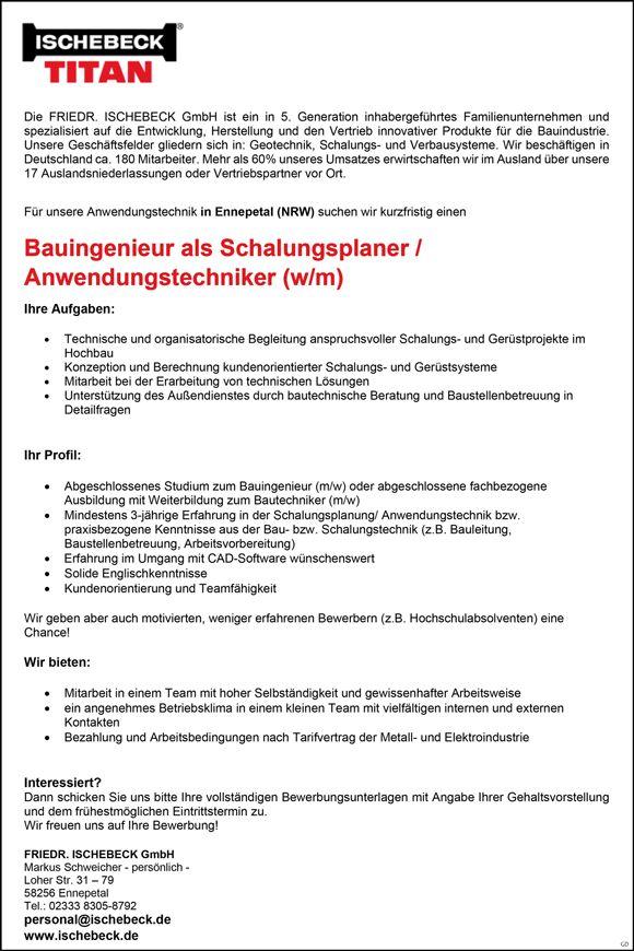 Simple Stellenbezeichnung Bauingenieur als Schalungsplaner Anwendungstechniker m w Arbeitsort FRIEDR ISCHEBECK GmbH Ennepetal Nordrhein Westfalen