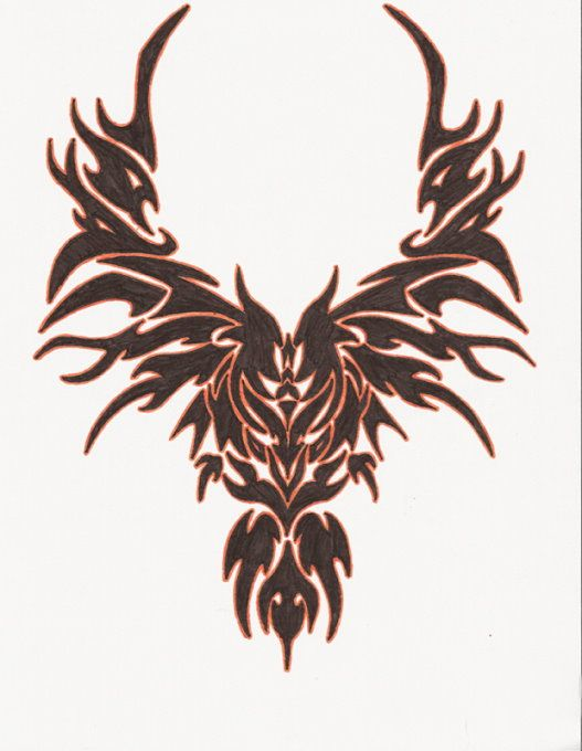 Black Tribal Bird Tattoo Design