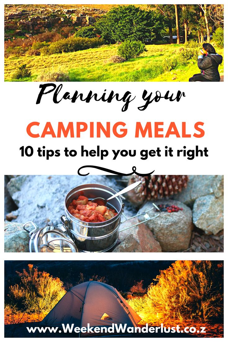 10 top tips for planning your camping meals.
