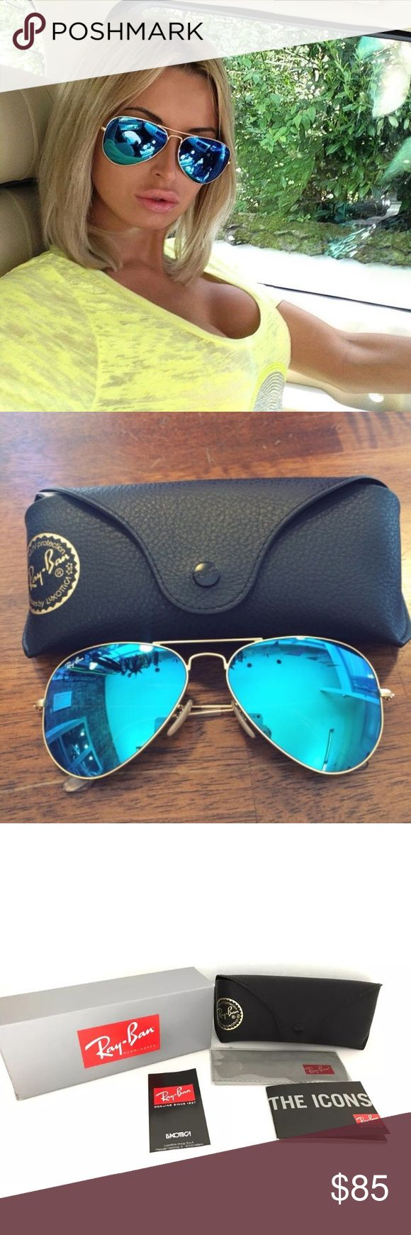 100%AUTHENTIC ray-ban aviator flash blue lens 58MM Model code: Rb3025 112/17 58-14  Frame material: Metal Frame color: Matte Gold Lenses: Blue Mirror Shape: Aviator Size lens-bridge: 58-14 Temple Length: 135mm Technology: Mirror MADE IN ITALY FULL PACKAGING FROM MANUFACTURER. Ray-Ban Accessories Sunglasses