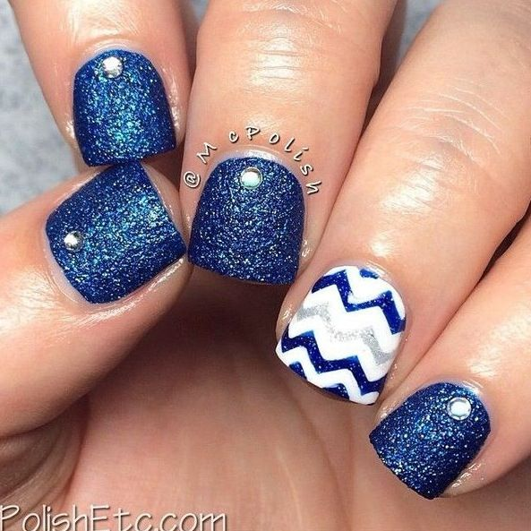 Navy and silver chevron