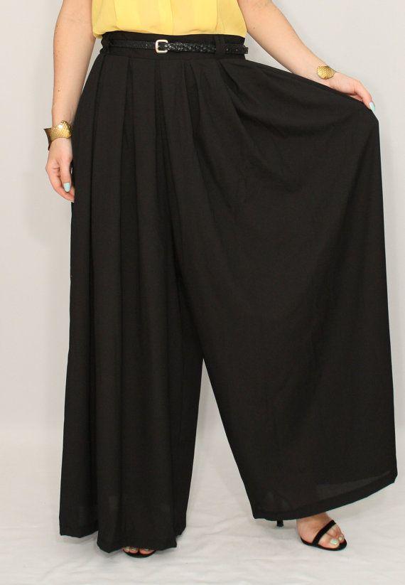 Chiffon palazzo pants Black pant skirt Casual pants by dresslike