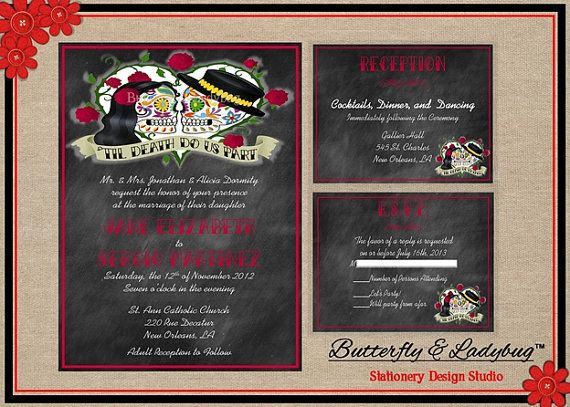 Chalkboard Sugar Skull Day Of The Dead Rockabilly Wedding Invitation Suite  (DIGITAL File)