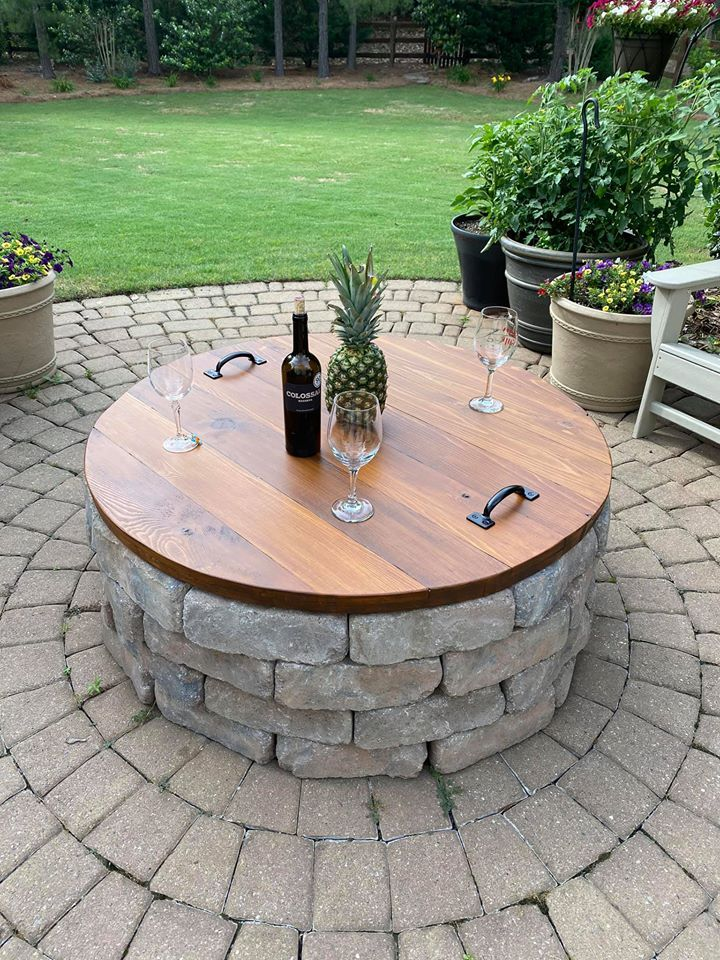 I Made My First Wood Working Diy Project A Fire Pit Table Via Mariselly Andujar Desoto Backyard Patio Designs Outdoor