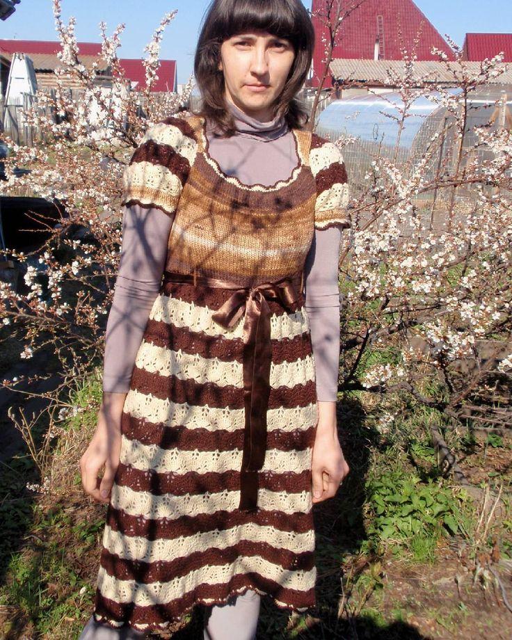 Вязаная одежда. Платье шоколадный микс.  #handmadecraft #handcraft #handmade #instacrochet #crochettoy #crochet #сделаноруками #вяжутнетолькобабушки #knitting #вязание #вязаниекрючком #вязаниеспицами #ручнаяработа #ручная_работа #рукоделие #вязанаяодежда by adelterner