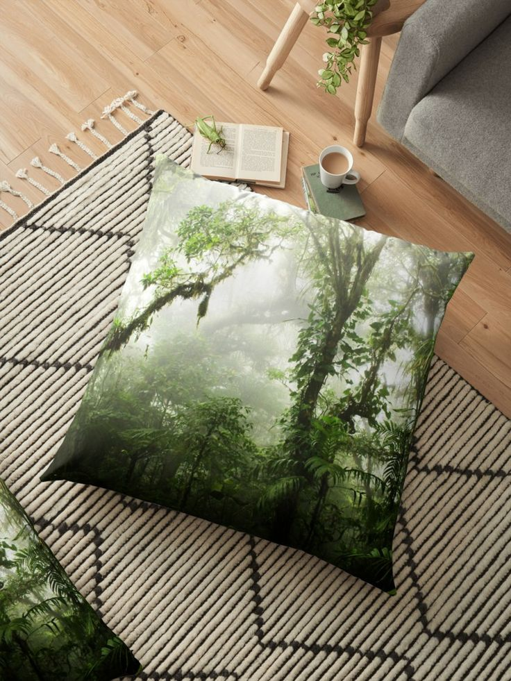 Picture taken in the amazing Cloud Forest Reserve of Monteverde, Costa Rica. #pillow #homedecor #floorpillow #jungle #green #rainforest #forest #nature #mist #fog