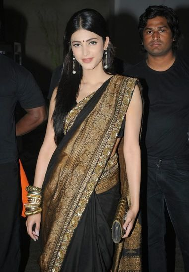 Pure georgette designer party wear saree in heavy work by shruti hasan bollywood collection - FABIONA Sarees for indian woman