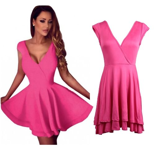 Women Mini Skater Dress Sexy Cocktail Dress Clubwear Backless V-Neck Sleeveless Solid Dress Rose