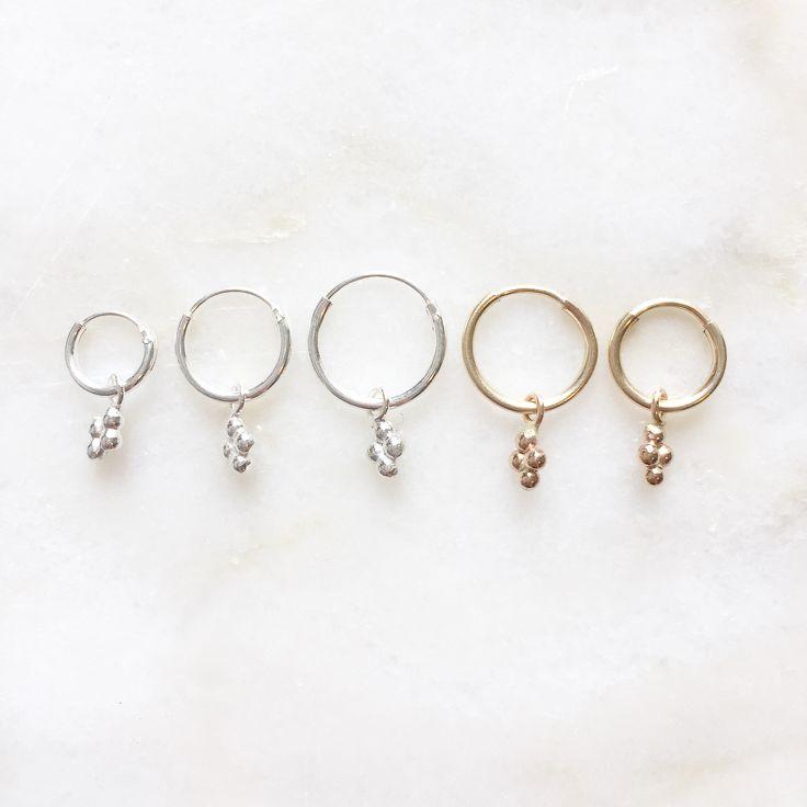 Diamond dots charm earrings | Handmade jewellery | 14k gold filled & sterling silver