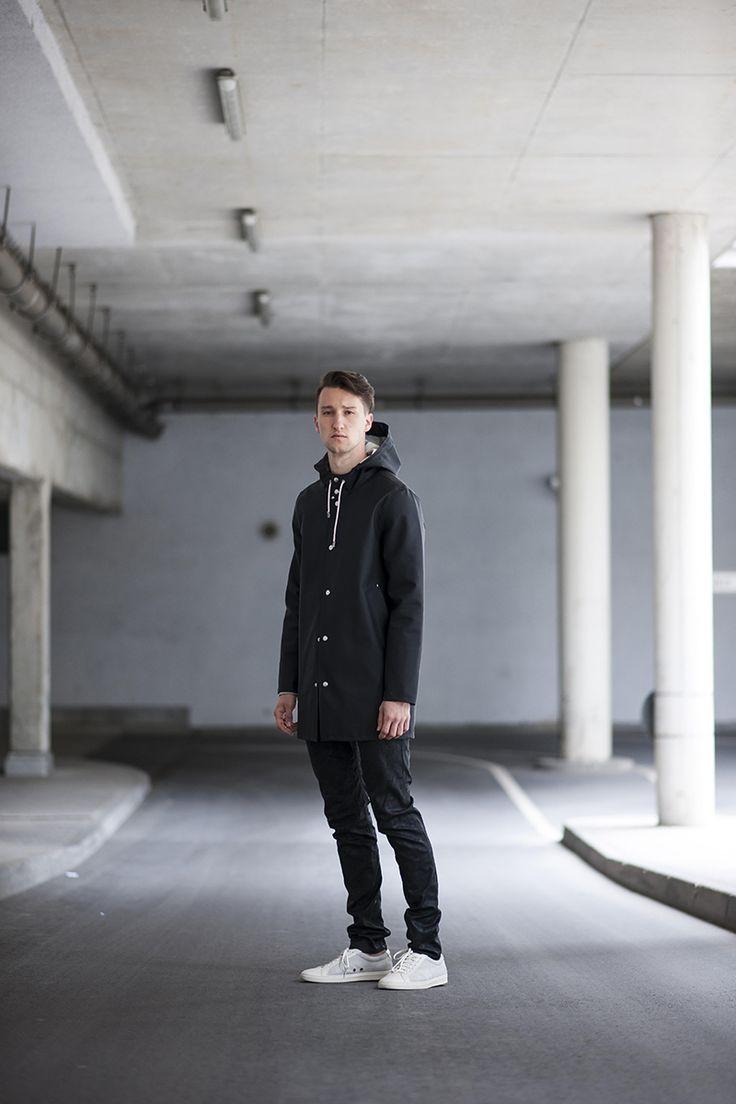 MARCEL FLORUSS   Rain Coat (Stutterheim) / Sweatshirt (Calvin Klein Jeans) / Jeans (Diesel Black & Gold) / Sneakers (Hugo Boss) / Shirt (Tiger of Sweden)