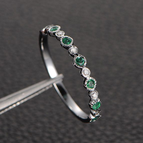 Natural Emerald Wedding Anniversary Eternity Ring with Diamonds,14K White Gold/Emerald Ring/Emerald Engagement Ring