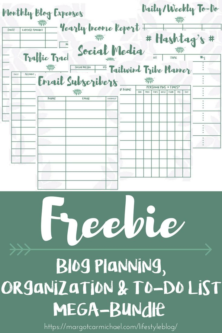 UPDATED for NEW subscribers!!!! 63-page blog organization and planning sheets printable PLUS BONUS to-do list templates and calendar templates!!  Everything you need to get your blog in order and grow your blog to new heights!!! #freebie #bloggers #organi