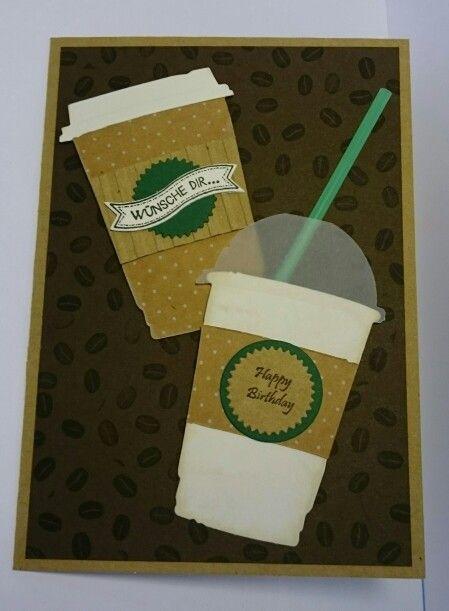 Gutscheinkarte für Starbucks Gutschein - Stanzen von Tim Holtz und Stampin Up, Stempel von Stampin Up und Bettys Creations