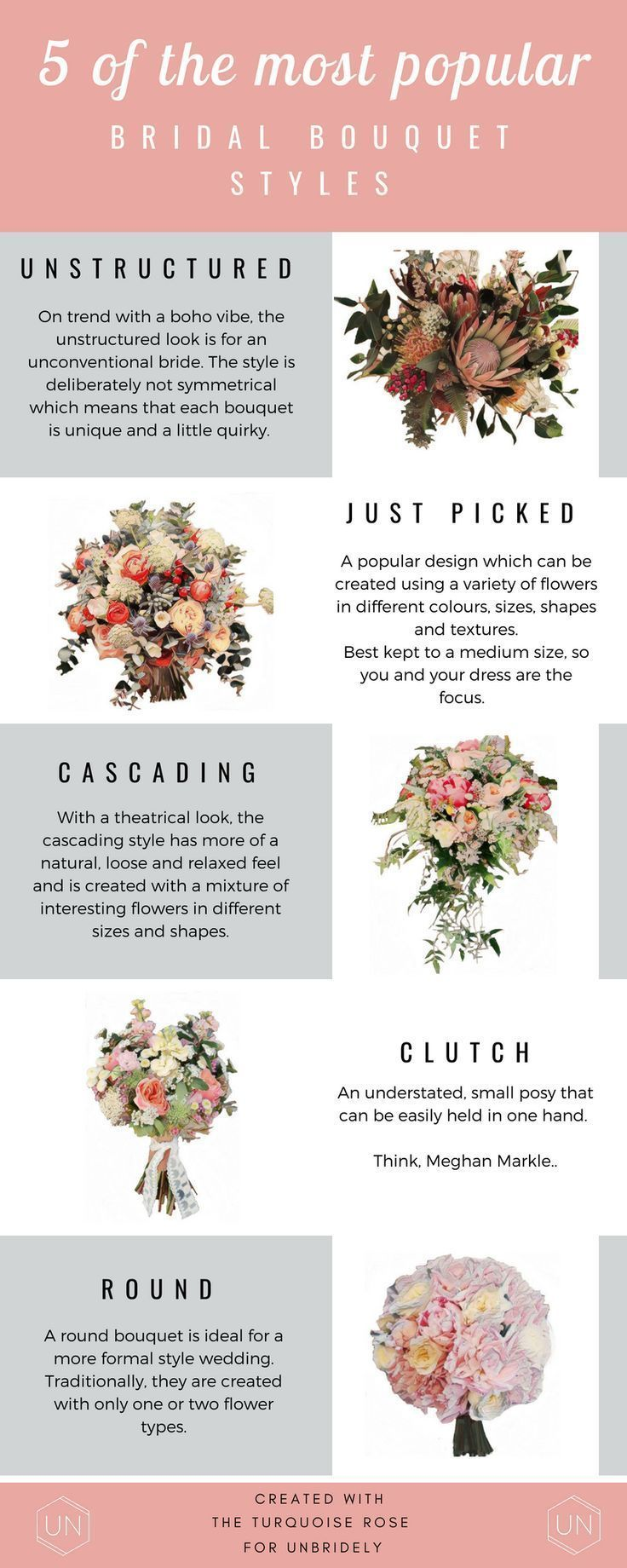 5 Of The Most Popular Bridal Bouquet Styles Explained Unbridely Hand Bouquet Wedding Bridal Bouquet Styles Diy Wedding Bouquet