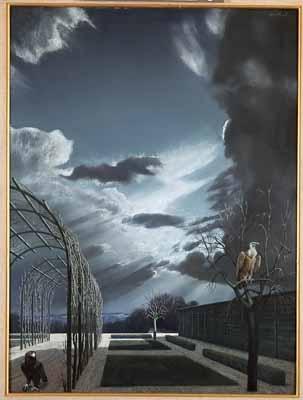 """Tuin  met roofvogels (Garden with Birds of Prey)"" a.k.a. ""Roofvogels in wintertuin (Birds of Prey in Winter Garden)"", 1959 / Carel Willink (1900-1983) / Private Collection"
