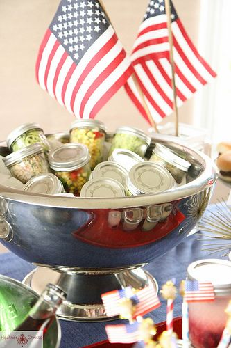 Fourth of July Party-- great for keeping salads cold and covered....love this idea.