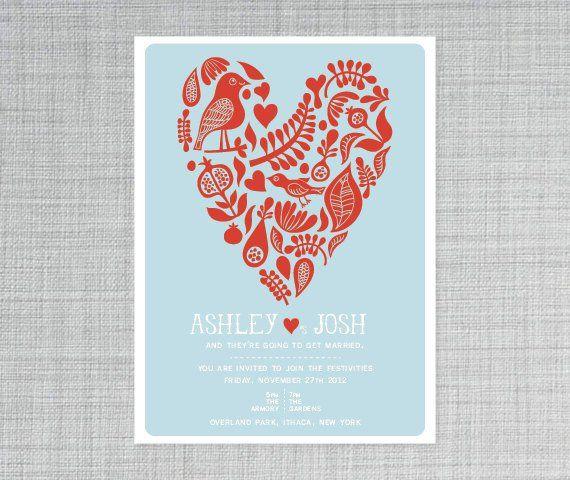 Red and light blue wedding invitation - http://themerrybride.org/2015/06/20/wedding-invitations-on-etsy-com-2/