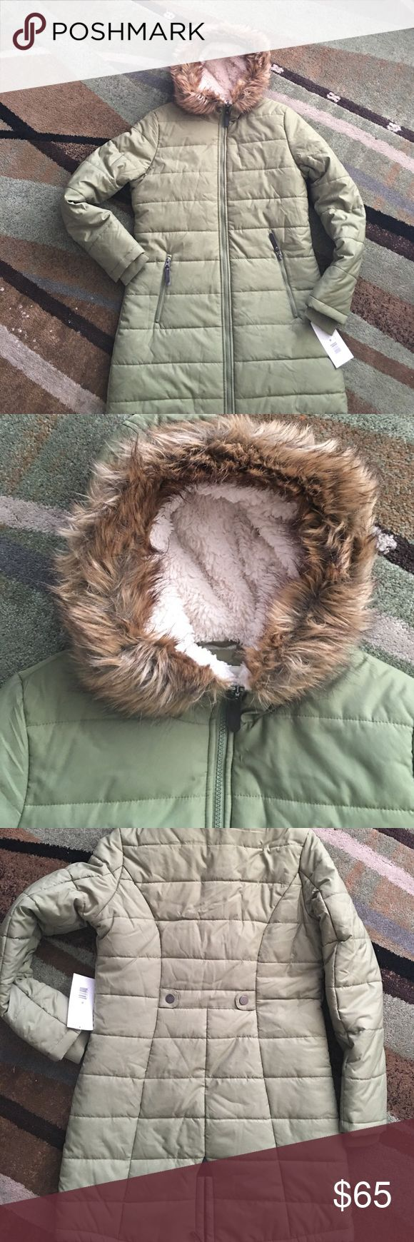 Olive green jacket New condition down jacket with faux fur trim. It's color is olive green fish tail style. Jackets & Coats Puffers