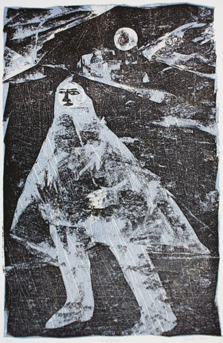 """""""Winterscape"""" by Charles Shearer (collograph)"""