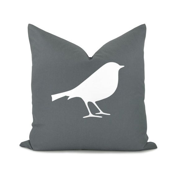 16x16 bird pillow cover - White and gray bird silhouette pillow cover - Modern decorative throw pillow cover - Minimalist home decor