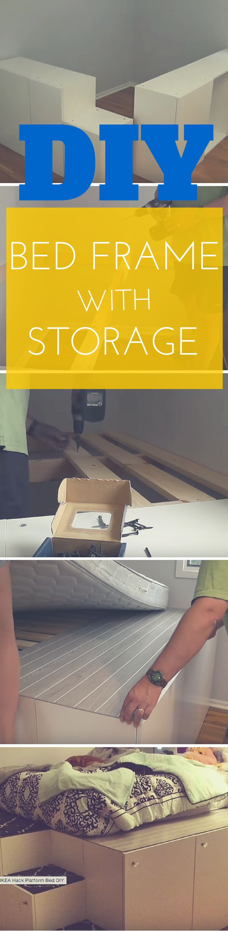 Diy Platform Bed With Storage From Ikea Cabinets Ikea